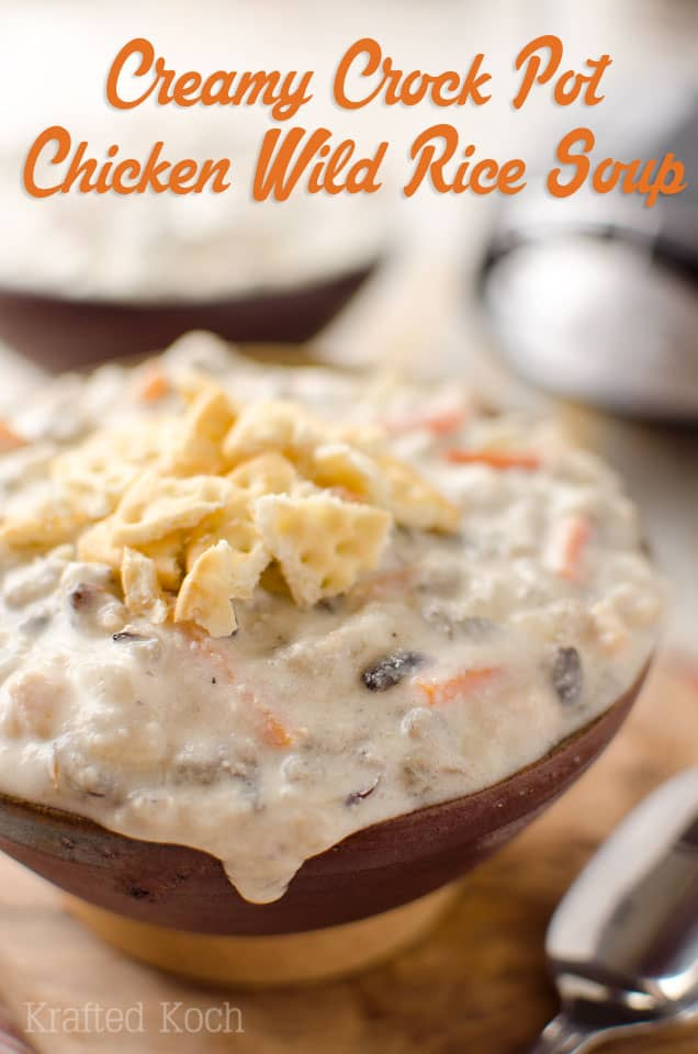 Crock Pot Creamy Chicken Wild Rice Soup - Krafted Koch - A creamy and decadent soup recipe you can throw in your slow cooker and come home to an amazing meal that will warm you up on cold winter days! #Soup #CrockPot #SlowCooker #ComfortFood