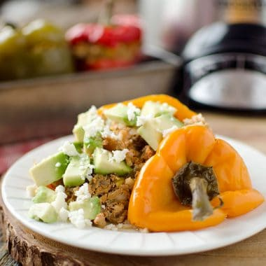Light Crock Pot Taco Stuffed Peppers - Krafted Koch