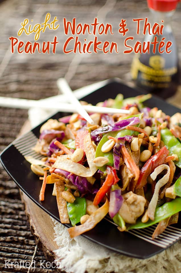 Light Wonton & Thai Peanut Chicken Sautee is a healthy and delicious dinner recipe loaded with vegetables, chicken and a spicy Thai peanut and coconut milk sauce. - Krafted Koch #Healthy #Asian #Recipe