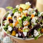 Roasted Squash & Cranberry Salad - Krafted Koch - A flavorful harvest salad loaded with roasted butternut squash, creamy goat cheese and dried cranberries for a meatless meal that will satisfy all your senses!