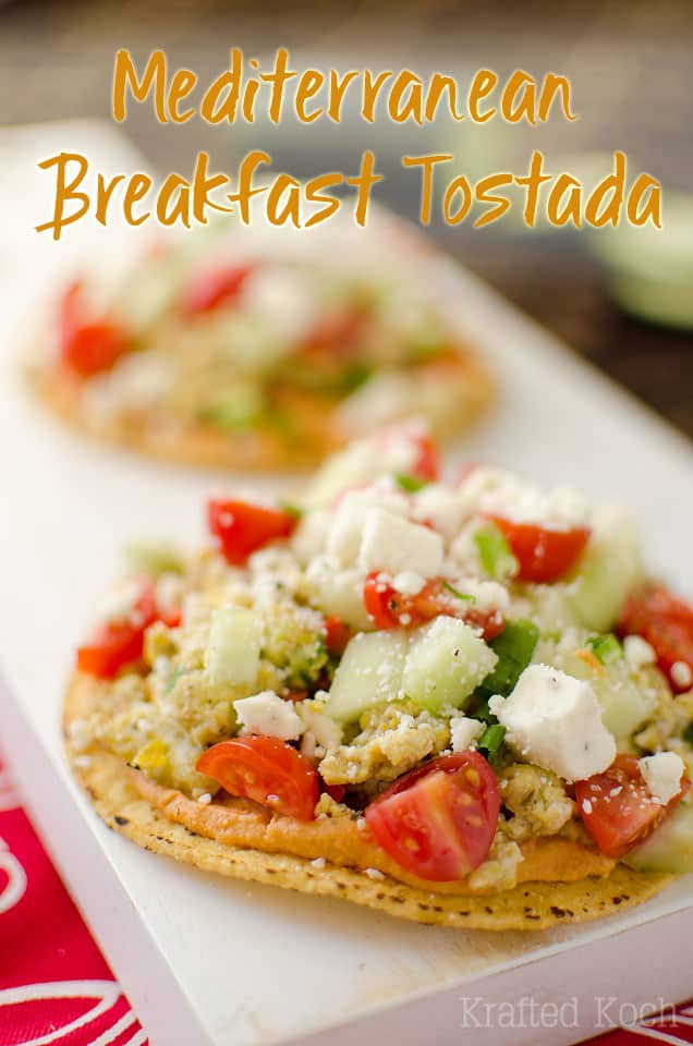 Mediterranean Breakfast Tostadas - Mediterranean Breakfast Tostadas are a quick and healthy breakfast recipe that will fill you up and fuel you for the day with fantastic Greek flavors!