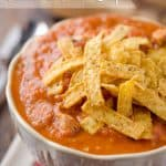 Creamy Chipotle, Chicken & Tomato Soup - Krafted Koch - A lightened up soup recipe with only 7 ingredients for a healthy and hearty soup you can enjoy in no time! #Soup #Healthy #ComfortFood #Easy