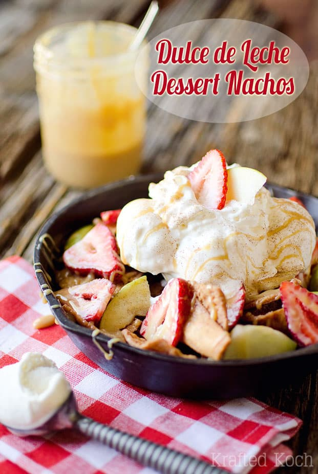 Dulce de Leche Dessert Nachos - A fast and easy dessert recipe with crunchy cinnamon sugar pita chips, ice cream, fresh fruit and decadent dulce de leche drizzle! #Dessert #Sweet #Fruit #DulceDeLeche