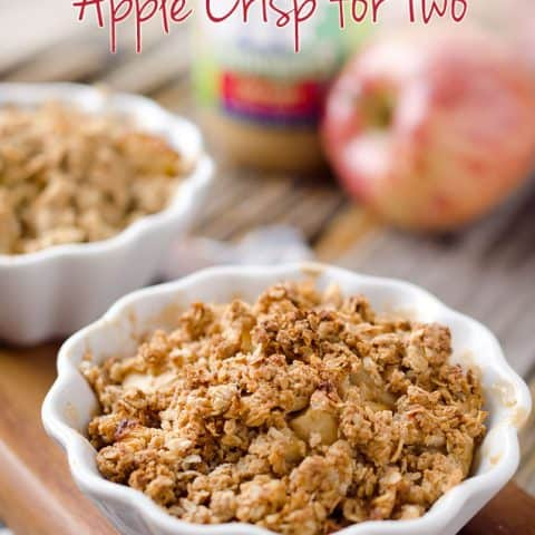Healthy Peanut Butter Apples Crisp for Two - A perfect dessert recipe for two with tart apples, creamy peanut butter and crunchy granola crumble. #Healthy #Apple #Light #Dessert