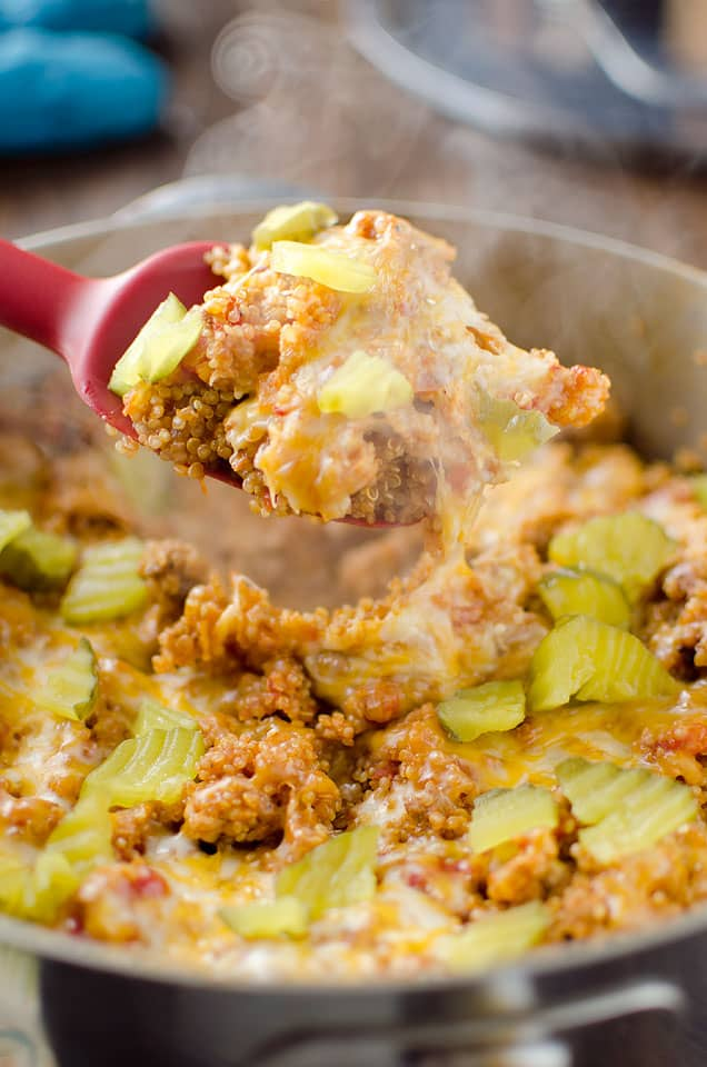 Light Cheeseburger Quinoa Skillet