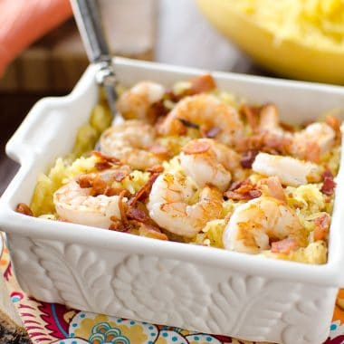 Light Spaghetti Squash Shrimp Carbonara