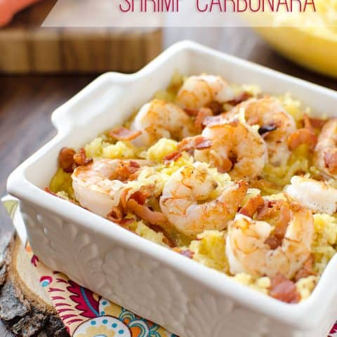 Light Spaghetti Squash Shrimp Carbonara is a healthy and low-carb recipe with all of the great flavors of carbonara without all the fat and carbohydrates from the traditional pasta dish. The lightened up version is loaded with tender shrimp and creamy spaghetti squash for a dinner you can feel good about. #SpaghettiSquash #Shrimp #LowCarb #Light