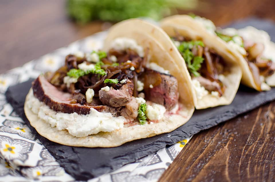 Steak & Whipped Bleu Cheese Tacos