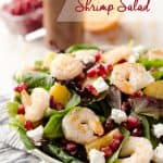 Winter Fruit & Shrimp Salad - A healthy entree salad filled with sweet winter fruits, pomegranate seeds and oranges along with grilled shrimp for a dinner idea that will brighten up these cold days! #Shrimp #Salad #Healthy #Ligth