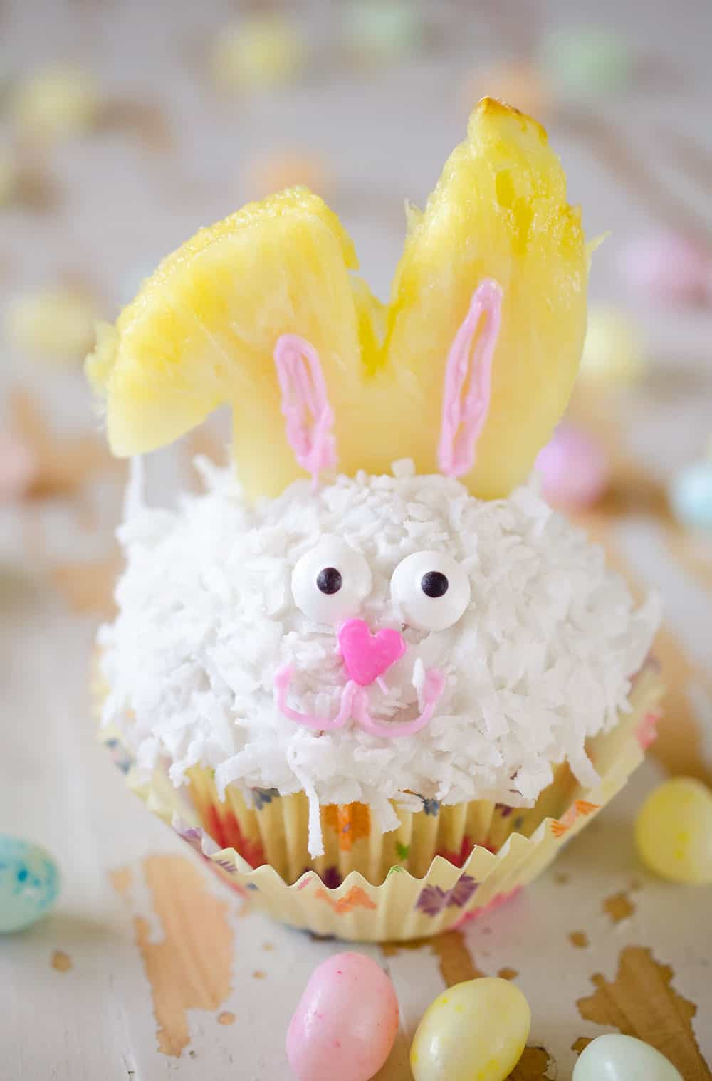 Light Coconut Cream Easter Bunny Cupcakes - The Creative Bite