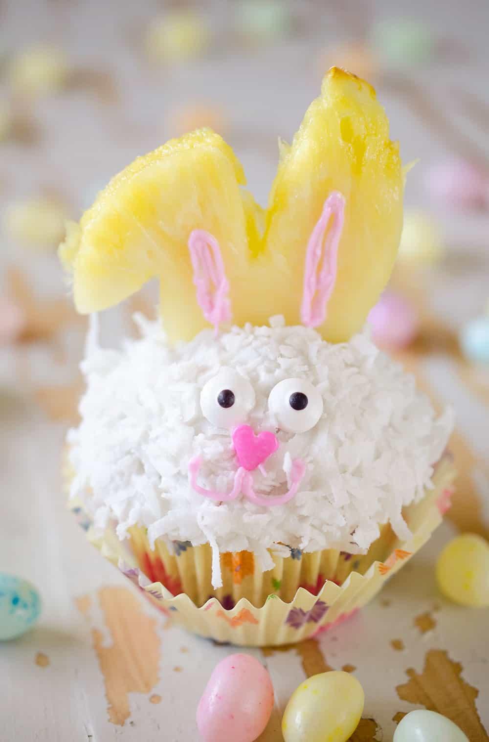Light Coconut Cream Easter Bunny Cupcakes - The Creative Bite