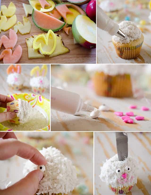 Light coconut cream easter bunny cupcakes - Creme decoration cupcake ...
