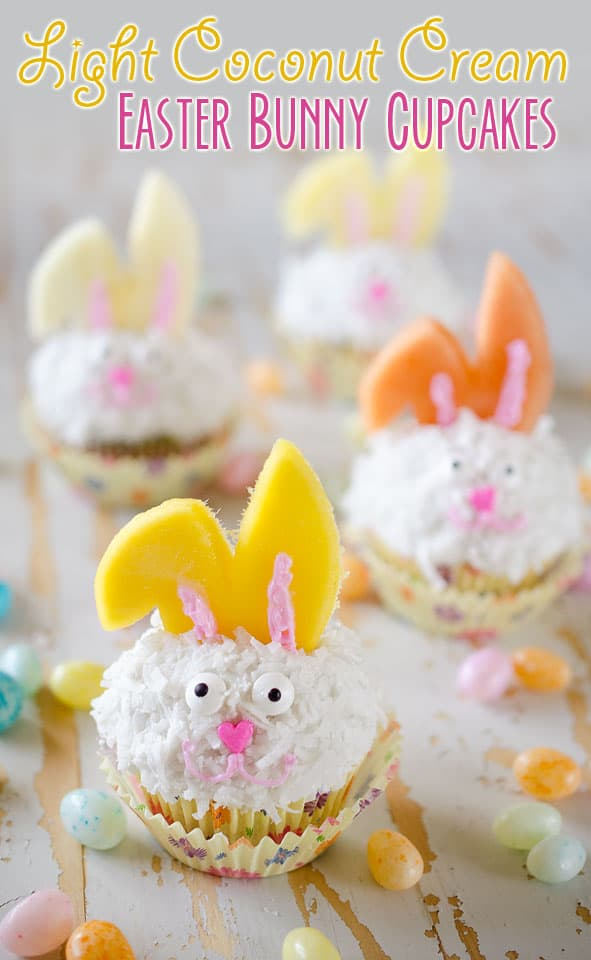 Light Coconut Cream Easter Bunny Cupcakes - A fun spring recipe with lightened up coconut cream cupcakes topped with bunny ears made from fruit, using Bakery Crafts Easter Bunny Cookie Cupcake Decoration Kit, for a holiday treat kids and adults will LOVE! #Easter #Cupcakes #Light #Fruit