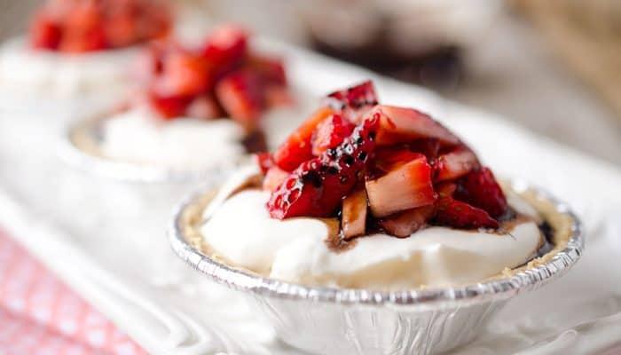 Skinny Mini Strawberry Balsamic Cream Pies