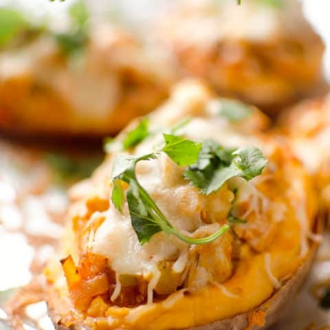 Twice Baked Buffalo Chicken Sweet Potatoes - An easy and delicious dinner recipe that also makes a great freezer meal for those lazy weeknight dinners when you still want a healthy meal! #FreezerMeal #Healthy #Chicken #SweetPotato #Light #ComfortFood #GlutenFree