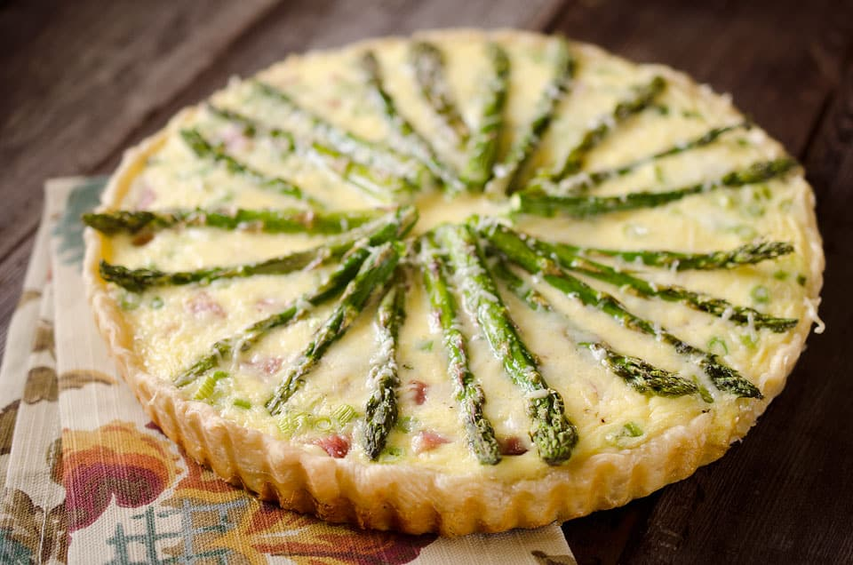 Cheesy Ham & Asparagus Quiche