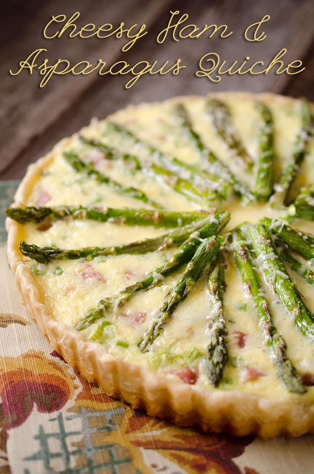 Cheesy Ham & Asparagus Quiche is filled with a luscious custard, leftover ham and fresh asparagus for a perfect quiche recipe for brunch or dinner! #Cheesy #LeftoverHam #Quiche