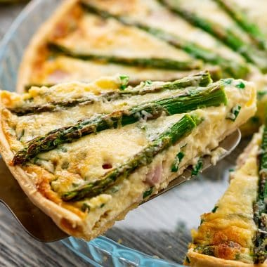 Cheesy Ham & Asparagus Quiche slice