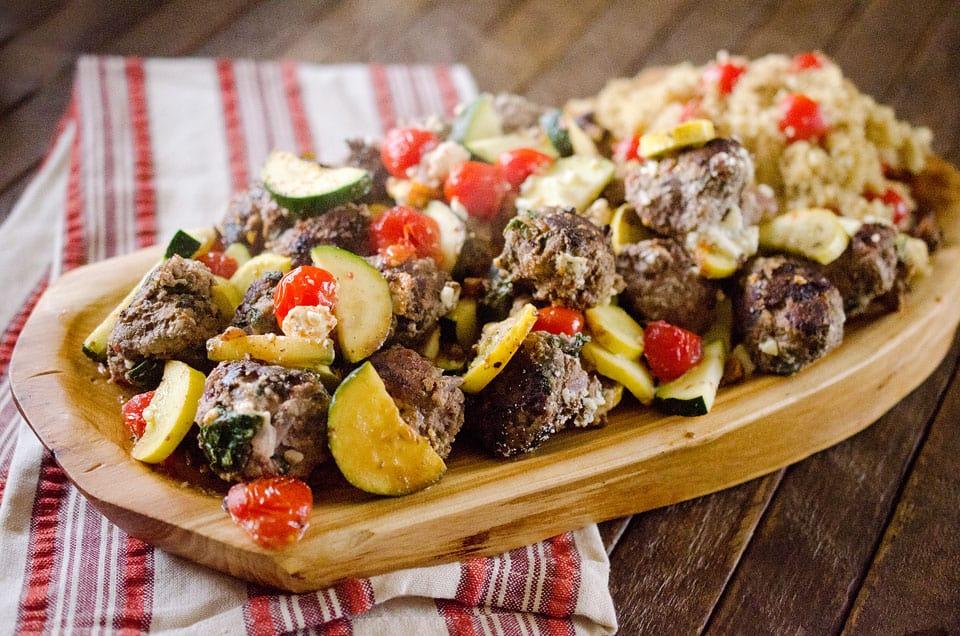 Greek Meatball & Veggie Skillet - The Creative Bite