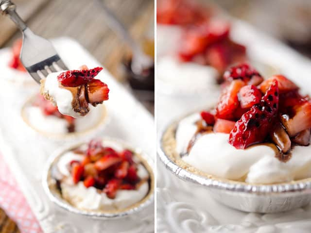 Skinny Mini Strawberry Balsamic Cream Pies