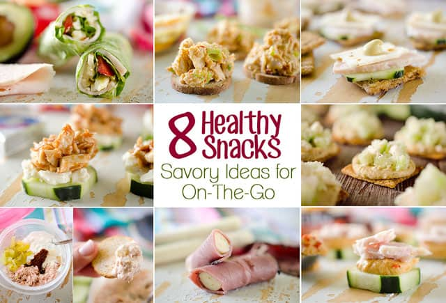 8 Healthy Snacks - Savory Ideas for On-The-Go - Fast and easy snacks that are loaded with protein and are great to grab & go! #Snacks #Healthy #SnackIdeas #HealthyEats