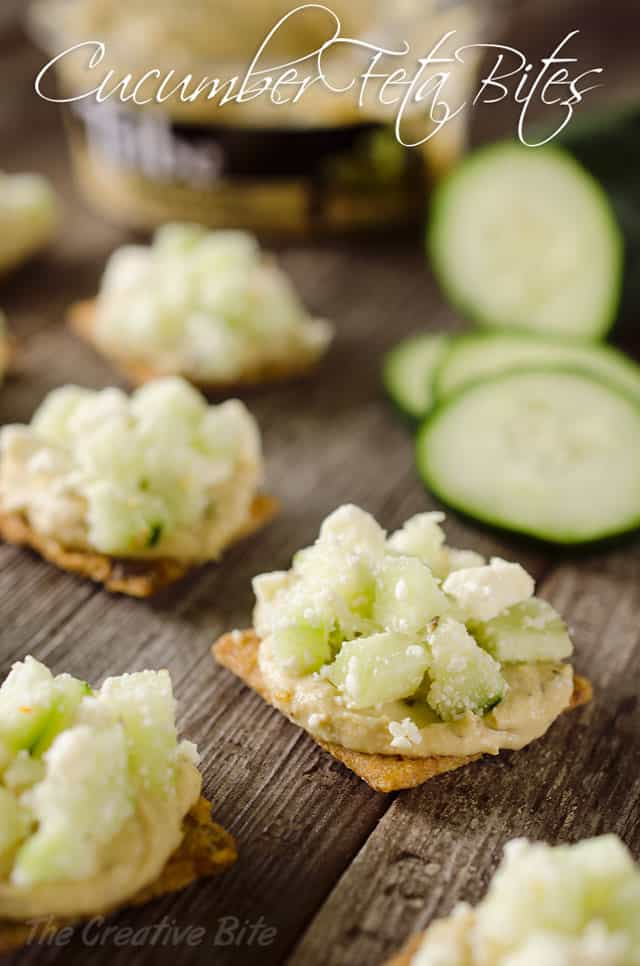 Cucumber Feta Bites are an easy appetizer or snack that are not only healthy, but satisfying and delicious! #Triscuit #Appetizer #Hummus #Cucumber #Snack #Healthy