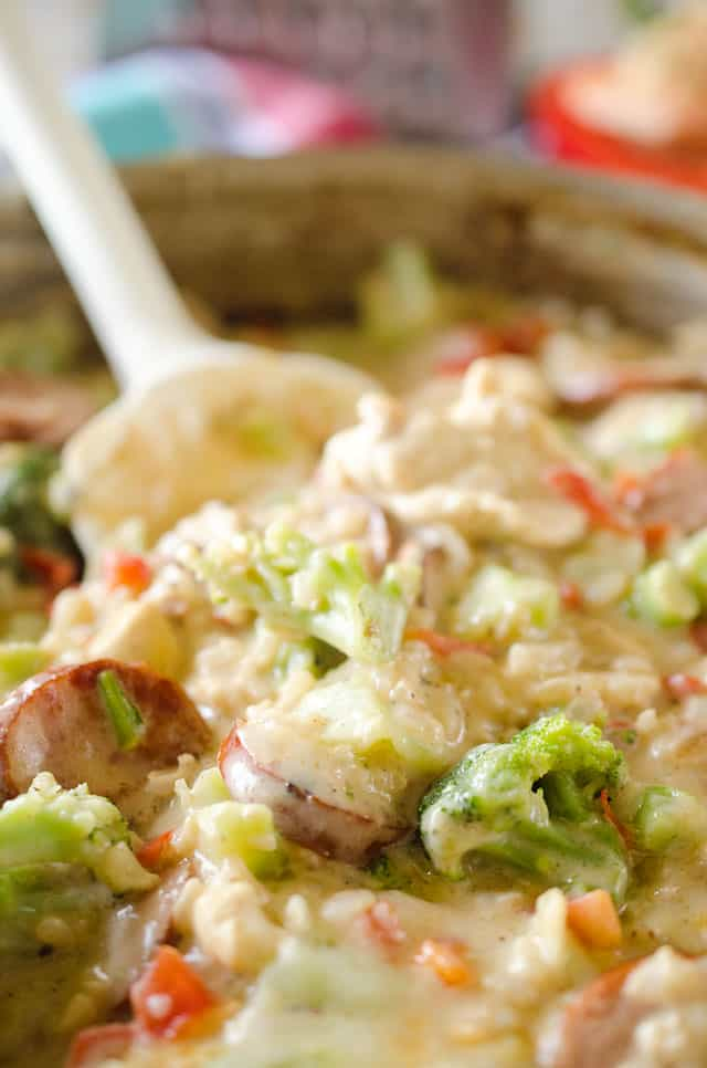 Light Cheesy Chicken, Sausage & Rice Casserole