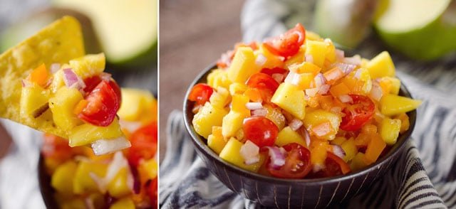 Mango Salsa with Baked Chips