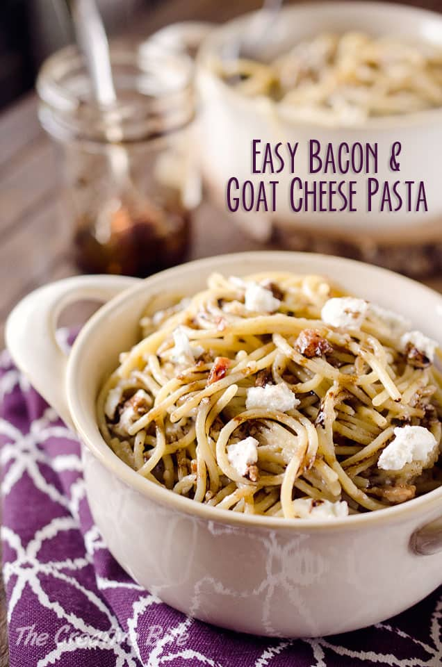 Easy Bacon & Goat Cheese Pasta - A quick and delicious dinner idea that comes together in only 15 minutes for a restaurant quality meal!