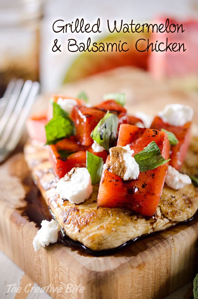 Grilled Watermelon & Balsamic Chicken - A tender chicken breast topped with grilled watermelon, soft goat cheese, fresh mint and a drizzle of balsamic reduction for a fresh summer meal that is healthy and delicious! #Chicken #Watermelon #Grilled #GoatCheese #Light #Healthy #DinnerIdea