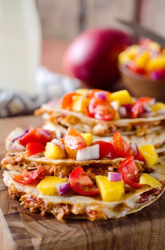 Mango BBQ Chicken Quesadillas