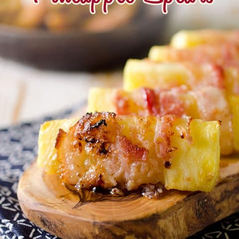 Bacon Wrapped Pineapple - An easy and delicious side dish that you can feel good about with healthy fruit and protein packed bacon!