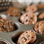 Light Chocolate Zucchini Muffins - A healthy breakfast or snack you can feel good about with zucchini, coconut oil and honey that will satisfy your chocolate craving. #Zucchini #Chocolate #Healthy #Light #Breakfast #Snack