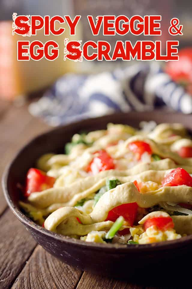 Spicy Eggs Florentine are a light and healthy breakfast full of spicy flavor and fresh vegetables!