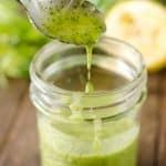 Cilantro Lemon Vinaigrette is a healthy homemade salad dressing with fresh cilantro, lemon juice, garlic, honey and champagne vinegar. #Vinaigrette #SaladDressing #Light #Healthy