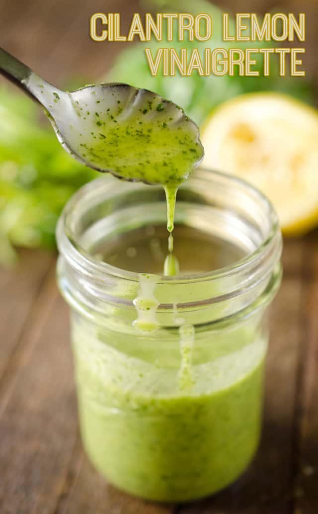 Cilantro Lemon Vinaigrette is a healthy homemade salad dressing with fresh cilantro, lemon juice, garlic, honey and champagne vinegar. #Vinaigrette #SaladDressing #Light #Healthy