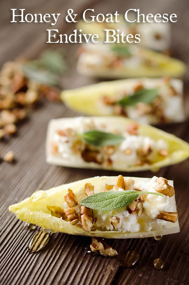 Honey & Goat Cheese Endive Bites - Crisp little leaves of endive are filled with whipped goat cheese, pecans, honey and a leaf of sage for an elegant and delicious appetizer that will impress! #Appetizer #Horderves #FingerFood #GoatCheese