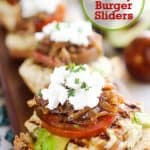Ultimate Turkey Burger Sliders are the perfect healthy game-day appetizer or dinner! The lean turkey burger is loaded with caramelized onions and avocado to keep it moist and topped with the best burger fixings for the ultimate slider that is healthy and delicious! #Turkey #Burger #Sliders #Healthy #Light