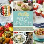 A delicious mix of healthy entrees, snacks and sides make up this Healthy Weekly Meal Plan for an easy week of nutritious meals your family will love! #MealPlan #Healthy #Menu