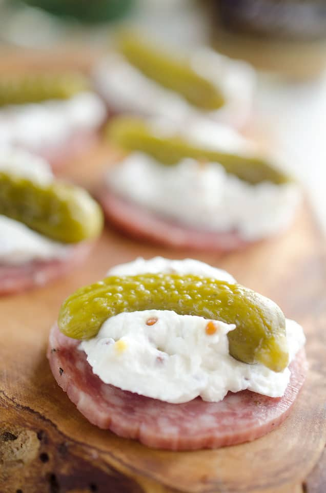 Cornichon Goat Cheese Bites are a simple and elegant finger food perfect for holiday parties! #GoatCheese #Pickles #FingerFood