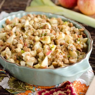 Light Apple & Pancetta Stuffing is full of wholesome goodness, including golden raisins, apples, green onions and leeks with a bit of Pancetta for rich flavor!