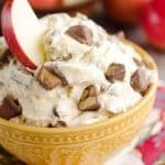 Candy Bar Apple Dip is the perfect dessert recipe to use up all of that leftover Halloween candy! #Candy #Apples #Dip #Dessert