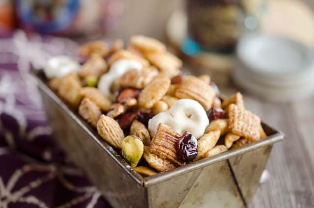 ... Chex Mix, yogurt covered pretzels, dried cranberries and mixed nuts