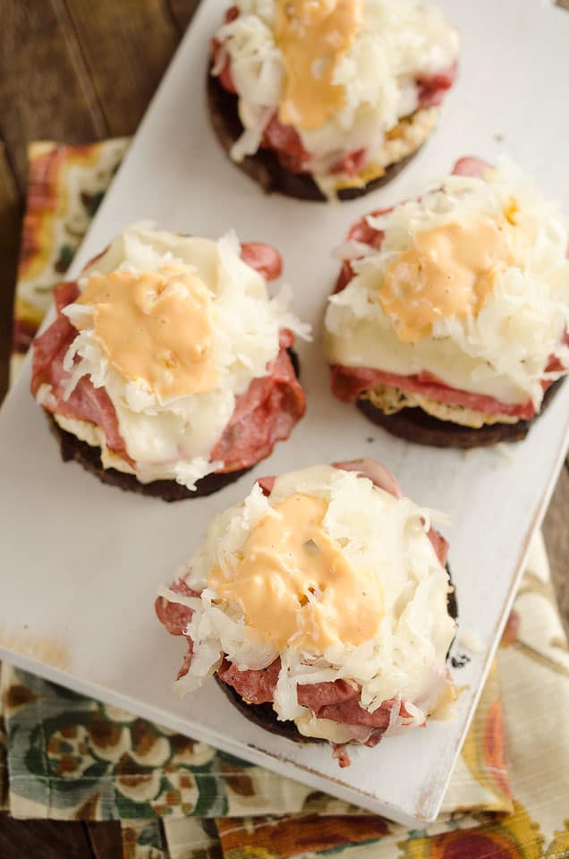 Light Reuben Turkey Burger Sliders are a healthy dinner bursting with flavor from corned beef, thousand island and Swiss cheese. The lean turkey burgers are kept extra moist with the addition of sauerkraut mixed right in!