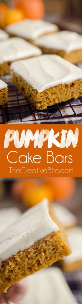 Pumpkin Cake Bars are a delicious fall treat with a light and fluffy pumpkin spice cake mix topped with decadent cream cheese frosting!