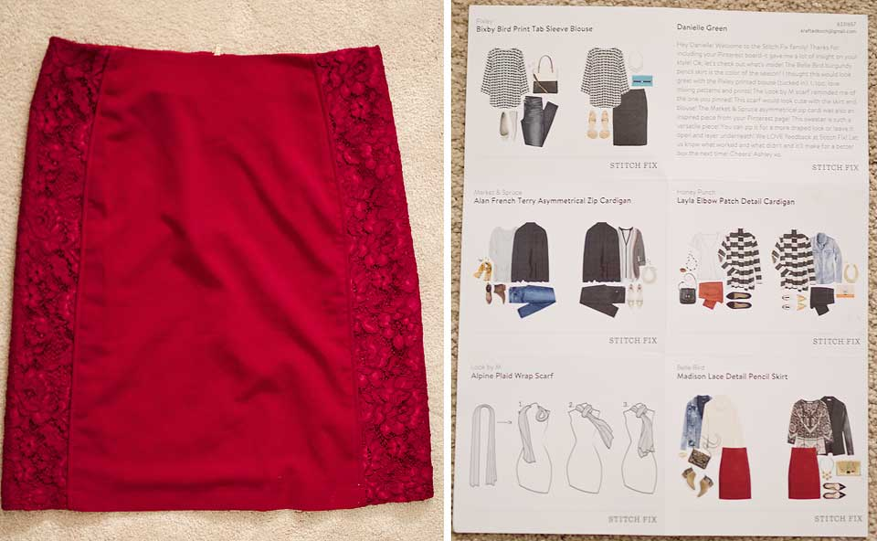 Belle Bird Madison Lace Detail Pencil Skirt Stitch Fix XL Review