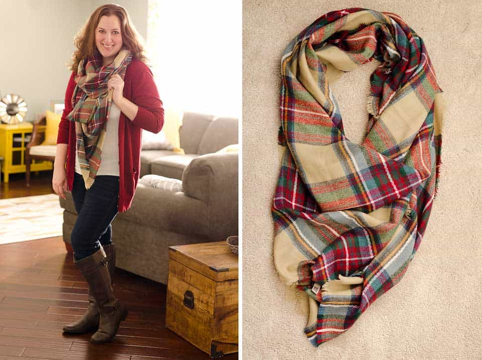 Look by M Alpine Plaid Wrap Blanket Scarf XL Stitch Fix Review