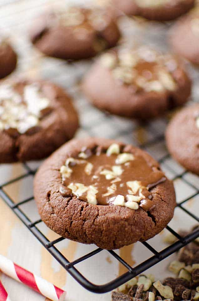 Mint Chocolate Thumbprint Cookies a sweet holiday treat filled with Andes mints, sure to please all of the chocolate lovers at Christmas!