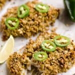 Baked Tortilla Crusted Tilapia is a light and healthy dinner idea with a crunchy tortilla and jalapeño crust full of spicy southwestern flavors.