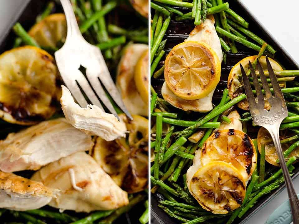 Grilled Lemon Chicken Skillet is a delicious dish that only requires one-pot, 15 minutes and 5 ingredients, including lean chicken breasts, lemons and asparagus, to prepare for an easy and healthy weeknight dinner bursting with fresh flavors!